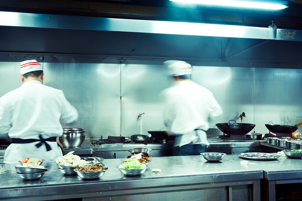 chefs in a commercial kitchen